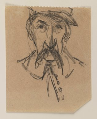 Joseph Stella (American, born Italy, 1877-1946). Man with Mustache, n.d. Black chalk on paper, Sheet: 5 x 4 1/16 in. (12.7 x 10.3 cm). Brooklyn Museum, Dick S. Ramsay Fund, 1991.162.3