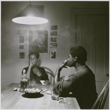 Carrie Mae Weems (American, born 1953). Untitled (Man Smoking/Malcolm X), from the Kitchen Table series, 1990. Gelatin silver photograph, sheet: 31 1/4 x 30 7/8 in. Brooklyn Museum, Caroline A.L. Pratt Fund, 1991.168. © Carrie Mae Weems