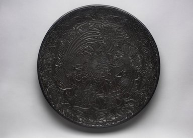 Large Circular Tray with Design of Two Birds, 16th century. Wood, black lacquer, 2 3/4 x 17 1/2 in. (7 x 44.5 cm). Brooklyn Museum, Gift of Mrs. Nathan L. Burnett, 1991.177. Creative Commons-BY