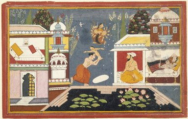 Indian. Episode Surrounding the Birth of Krishna, Page from a Dispersed Bhagavata Purana Series, late 17th-early 18th century. Opaque watercolor on paper, sheet: 10 1/8 x 15 15/16 in.  (25.7 x 40.5 cm). Brooklyn Museum, Gift of Emily Manheim Goldman, 1991.180.10
