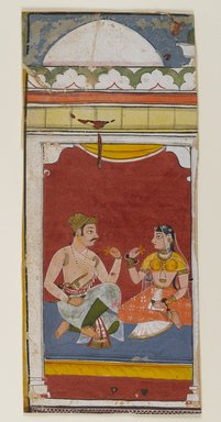 Sahab-Ud-Din. Page from a Ragamala Series, 1628. Opaque watercolors on paper, 8 1/8 x 3 5/8 in. (20.6 x 9.2 cm). Brooklyn Museum, Gift of Martha M. Green, 1991.181.19