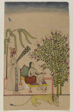 Indian. Seated Princess with Attendant and Lion, ca. 1750. Opaque watercolors on paper, sheet: 8 15/16 x 5 9/16 in.  (22.7 x 14.1 cm). Brooklyn Museum, Gift of Martha M. Green, 1991.181.4