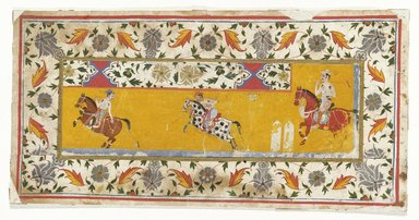Indian. Section of a border with Polo Players, first quarter of 17th century. Opaque watercolor and gold on paper, sheet: 6 1/2 x 12 3/4 in.  (16.5 x 32.4 cm). Brooklyn Museum, Gift of Martha M. Green, 1991.181.5