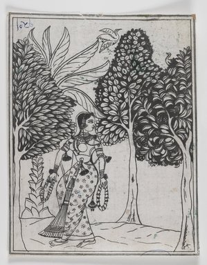 Mughal. Kamod Ragini, 1605-1610. Ink on paper, 7 5/8 x 6 1/8 in. Brooklyn Museum, Gift of Mr. and Mrs. Peter P. Pessutti, 1991.184.24