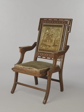 Edward W. Vaill (1861-1891). Folding Armchair (reception) (Aesthetic Movement style), ca. 1880. Walnut, original upholstery, metal, 39 7/16 x 24 9/16 x 25 3/4 in. (100.2 x 62.4 x 65.4 cm). Brooklyn Museum, Bequest of DeLancey Thorn Grant in memory of her mother, Louise Floyd-Jones Thorn, by exchange, 1991.199. Creative Commons-BY