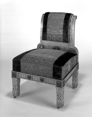 Side Chair (Modern Gothic style), ca. 1880. Oak, walnut, original upholstery, 37 1/2 x 26 x 28 5/8 in. (95.3 x 66 x 72.7 cm). Brooklyn Museum, Gift of Mr. and Mrs. Daniel L. Silberberg, by exchange, 1991.202. Creative Commons-BY