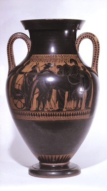 Lysippides Painter (in the manner of). Black-figure Type A Amphora, ca. 530 B.C.E. Terracotta, painted, Height: 22 1/4 in. (56.5 cm). Brooklyn Museum, Gift of Mr. and Mrs. Paul E. Manheim, 1991.204.2. Creative Commons-BY