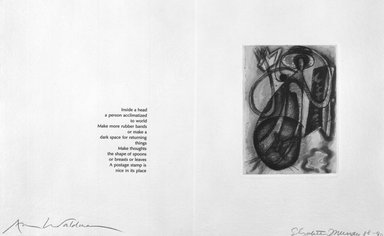 Elizabeth Murray (American, 1940-2007). Page from Her Story, 1988-1990. Etching on photo offset lithograph on paper, sheet: 11 3/8 x 17 3/4 in. (28.9 x 45.1 cm). Brooklyn Museum, A. Augustus Healy Fund, 1991.21.12. © Elizabeth Murray  and Universal Limited Art Editions, Inc.