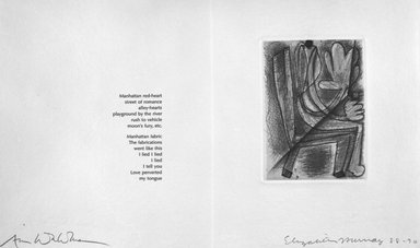 Elizabeth Murray (American, 1940-2007). Colophon from Her Story, 1988-1990. Printed text on paper, sheet: 11 3/8 x 17 5/8 in. (28.9 x 44.8 cm). Brooklyn Museum, A. Augustus Healy Fund, 1991.21.2. © Elizabeth Murray  and Universal Limited Art Editions, Inc.
