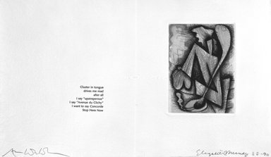 Elizabeth Murray (American, 1940-2007). Page from Her Story, 1988-1990. Etching on photo offset lithograph on paper, sheet: 11 3/8 x 17 3/4 in. (28.9 x 45.1 cm). Brooklyn Museum, A. Augustus Healy Fund, 1991.21.5. © Elizabeth Murray  and Universal Limited Art Editions, Inc.