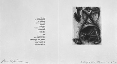 Elizabeth Murray (American, 1940-2007). Page from Her Story, 1988-1990. Etching on photo offset lithograph on paper, sheet: 11 3/8 x 17 3/4 in. (28.9 x 45.1 cm). Brooklyn Museum, A. Augustus Healy Fund, 1991.21.7. © Elizabeth Murray  and Universal Limited Art Editions, Inc.