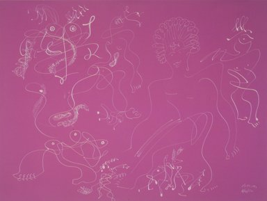 Irene Rice Pereira (American, 1905-1971). Somewhere Today, 1952. White marker on magenta colored paper, 17 7/8 x 24 7/8 in. Brooklyn Museum, Gift of Mr. and Mrs. Martin E. Segal, 1991.211.3. © Estate of Irene Rice Pereira