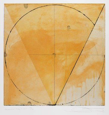 Shoichi Ida (Japanese, 1941-2006). Descended Triangle No. 1, 1987. Color spit bite aquatints with soft ground etching and drypoint on gampi paper chine collé, sheet: 26 x 22 5/8 in. Brooklyn Museum, Gift of Nancy Genn, 1991.215.4. © Estate of Shoichi Ida