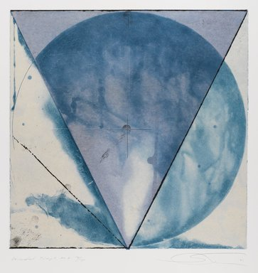 Shoichi Ida (Japanese, 1941-2006). Descended Triangle No. 2, 1987. Color spit bite aquatints with soft ground etching and drypoint on gampi paper chine collé, sheet: 26 x 22 5/8 in. Brooklyn Museum, Gift of Nancy Genn, 1991.215.5. © Estate of Shoichi Ida