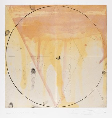 Shoichi Ida (Japanese, 1941-2006). Descended Triangle No. 3, 1987. Color spit bite aquatints with soft ground etching and drypoint on gampi paper chine collé, sheet: 26 x 22 5/8 in. Brooklyn Museum, Gift of Nancy Genn, 1991.215.6. © Estate of Shoichi Ida