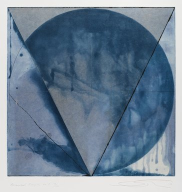 Shoichi Ida (Japanese, 1941-2006). Descended Triangle No. 5, 1987. Color spit bite aquatints with soft ground etching and drypoint on gampi paper chine collé, Sheet: 26 x 22 5/8 in. (66 x 57.5 cm). Brooklyn Museum, Gift of Nancy Genn, 1991.215.8. © Estate of Shoichi Ida