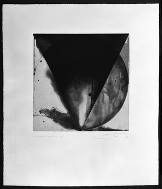 Shoichi Ida (Japanese, 1941-2006). Descended Triangle No. 6, 1987. Color spit bite aquatints with soft ground etching and drypoint on gampi paper chine collé, Sheet: 26 x 22 5/8 in. (66 x 57.5 cm). Brooklyn Museum, Gift of Nancy Genn, 1991.215.9. © Estate of Shoichi Ida
