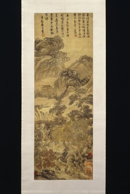 Tang Yin (Chinese, 1470-1523). Landscape, last quarter 15th-first quarter 16th century. Ink and color on paper, Overall: 77 x 20 1/2 in. (195.6 x 52.1 cm). Brooklyn Museum, Gift of C.C. Wang & Family Collection, 1991.237.3
