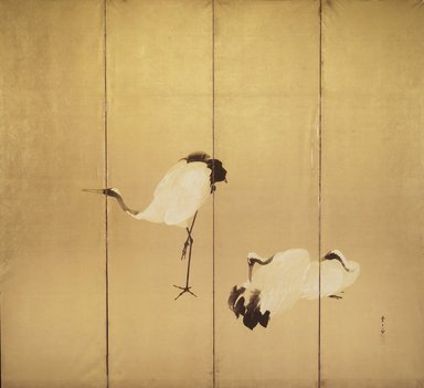 Kawamura Manshu (Japanese, 1880-1942). Cranes (One of Pair), early 20th century. One of a pair of four-paneled folding screens, color, ink and gold on paper, 67 x 73 1/2 in. (170.2 x 186.7cm). Brooklyn Museum, Gift of Henry and Liza Hyde, 1991.242.2. Creative Commons-BY