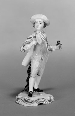 Hochst Porcelain Factory (1746-1796). Figure of a Gardener, ca. 1755. Porcelain, 5 1/8 x 3 1/4 x 2 1/8 in. (12.9 x 9.8 x 5.4 cm). Brooklyn Museum, Gift of Louis John and Pamela Kay Ercole in memory of our grandparents, Luigi Ercole and Maria Esposito Ercole from Naples, Italy, 1991.254. Creative Commons-BY