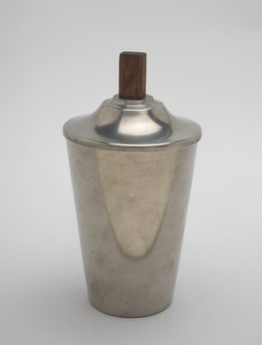 Marion Anderson Noyes (American, 1907-2002). Canister with Lid, ca. 1933. Pewter, walnut, 7 x 3 3/4 x 3 3/4 in. (17.8 x 9.5 x 9.5 cm). Brooklyn Museum, Gift of Marion Anderson Noyes, 1991.258.5a-b. Creative Commons-BY
