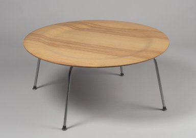 Charles Eames (American, 1907-1978). Coffee Table with Metal Legs (CTM), Designed 1946; Manufactured 1949-1957. Molded plywood, chromed metal, wood, rubber, 15 3/8 x 34 1/8 x 33 3/4 in. (39.1 x 86.7 x 85.7 cm). Brooklyn Museum, Gift of Paul F. Walter, 1991.261.1. Creative Commons-BY