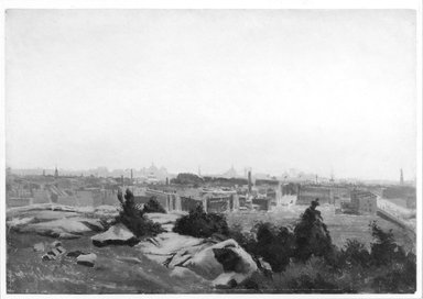 August Will (American, born Germany, 1834-1910). View toward New York City from Montgomery Street Bluff, Jersey City, ca. 1875-1877. Oil on paper, 11 x 15 13/16 in. (27.9 x 40.1 cm). Brooklyn Museum, Gift of Gustavus Remak Ramsay, 1991.266