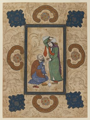 Young Woman Offering Wine to a Sage, ca. 1650. Ink and opaque watercolors on paper, Sheet: 12 1/2 x 9 in. Brooklyn Museum, Gift of Stanley J. Love, 1991.28.3