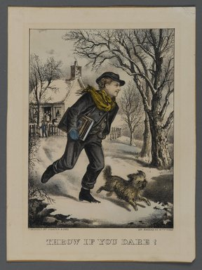 Currier & Ives (American). Throw if You Dare!, n.d. Hand-colored lithograph on wove paper, Sheet: 9 1/2 x 7 1/16 in. (24.2 x 18 cm). Brooklyn Museum, Gift of Mrs. Harry Elbaum in honor of Daniel Brown, art critic, 1991.285.10