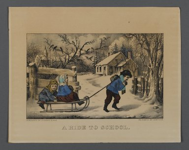 Currier & Ives (American). A Ride to School, n.d. Hand-colored lithograph on wove paper, Sheet: 7 13/16 x 10 in. (19.8 x 25.4 cm). Brooklyn Museum, Gift of Mrs. Harry Elbaum in honor of Daniel Brown, art critic, 1991.285.12