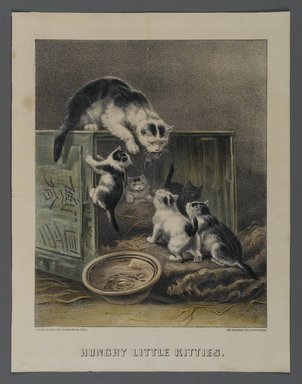 Currier & Ives (American). Hungry Little Kitties, n.d. Hand-colored lithograph on wove paper, Sheet: 12 5/16 x 9 9/16 in. (31.2 x 24.3 cm). Brooklyn Museum, Gift of Mrs. Harry Elbaum in honor of Daniel Brown, art critic, 1991.285.15