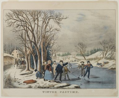 Nathaniel Currier (American, 1813-1888). Winter Pastime, 1855. Hand-colored lithograph on wove paper, 10 3/8 x 14 3/4in. (26.4 x 37.5cm). Brooklyn Museum, Gift of Mrs. Harry Elbaum in honor of Daniel Brown, art critic, 1991.285.17