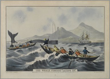 """Nathaniel Currier (American, 1813-1888). The Whale Fishery, """"Laying On,"""" 1852. Hand-colored lithograph on wove paper, Sheet: 10 1/16 x 14 1/8 in. (25.5 x 35.8 cm). Brooklyn Museum, Gift of Mrs. Harry Elbaum in honor of Daniel Brown, art critic, 1991.285.19"""