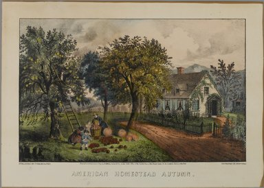 Currier & Ives (American). American Homestead Autumn, 1868-1869. Hand-colored lithograph on wove paper, Sheet: 9 15/16 x 14 in. (25.3 x 35.5 cm). Brooklyn Museum, Gift of Mrs. Harry Elbaum in honor of Daniel Brown, art critic, 1991.285.1