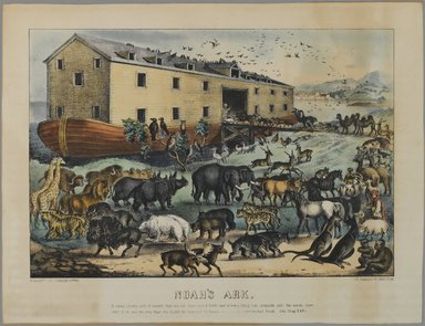 Nathaniel Currier (American, 1813-1888). Noah's Ark, n.d. Hand-colored lithograph on wove paper, Sheet: 10 15/16 x 14 5/16 in. (27.8 x 36.4 cm). Brooklyn Museum, Gift of Mrs. Harry Elbaum in honor of Daniel Brown, art critic, 1991.285.21