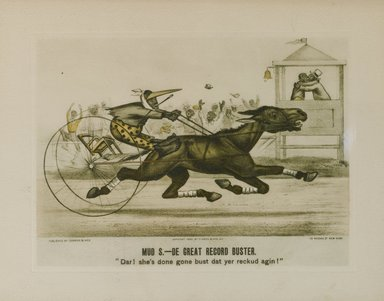 Currier & Ives (after) (American). Mud S. - De Great Record Buster, 1885. Reproduction on wove paper mounted on board, Sheet: 6 1/8 x 7 7/16 in. (15.6 x 18.9 cm). Brooklyn Museum, Gift of Mrs. Harry Elbaum in honor of Daniel Brown, art critic, 1991.285.24