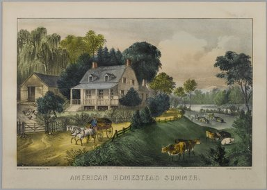 Currier & Ives (American). American Homestead Summer, 1868-1869. Hand-colored lithograph on wove paper, 7 7/8 x 12 3/8in. (20 x 31.4cm). Brooklyn Museum, Gift of Mrs. Harry Elbaum in honor of Daniel Brown, art critic, 1991.285.3