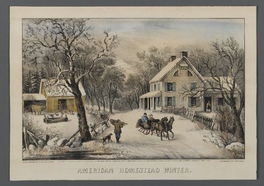 Currier & Ives (American). American Homestead Winter, 1868-1869. Hand-colored lithograph on wove paper, Sheet: 9 3/4 x 13 13/16 in. (24.8 x 35.1 cm). Brooklyn Museum, Gift of Mrs. Harry Elbaum in honor of Daniel Brown, art critic, 1991.285.4