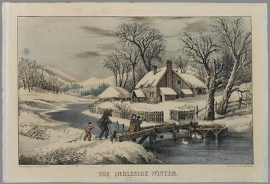 Currier & Ives (American). The Ingleside Winter, n.d. Hand-colored lithograph on wove paper, Sheet: 9 1/2 x 14 3/16 in. (24.2 x 36 cm). Brooklyn Museum, Gift of Mrs. Harry Elbaum in honor of Daniel Brown, art critic, 1991.285.5