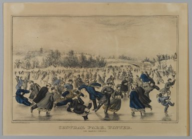 Currier & Ives (American). Central Park, Winter, The Skating Carnival, n.d. Hand-colored lithograph on wove paper, Sheet: 14 1/8 x 10 1/16 in. (35.8 x 25.5 cm). Brooklyn Museum, Gift of Mrs. Harry Elbaum in honor of Daniel Brown, art critic, 1991.285.6