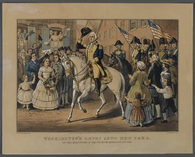 Currier & Ives (American). Washington's Entry into New York, 1857. Hand-colored lithograph on wove paper, 10 1/2 x 14 3/4in. (26.7 x 37.5cm). Brooklyn Museum, Gift of Mrs. Harry Elbaum in honor of Daniel Brown, art critic, 1991.285.7
