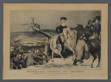 Currier & Ives (American). Washington Crossing the Delaware, 1876. Hand-colored lithograph on wove paper, Sheet: 10 7/16 x 14 3/8 in. (26.5 x 36.5 cm). Brooklyn Museum, Gift of Mrs. Harry Elbaum in honor of Daniel Brown, art critic, 1991.285.8