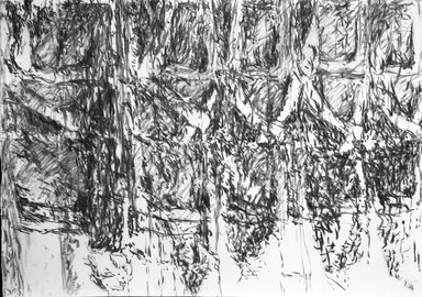 "Ursula von Rydingsvard (American, born Germany, 1942). ""Untitled,"" February 15, 1991. Charcoal on paper, 29 3/4 x 41 7/8 in. (75.6 x 106.4 cm). Brooklyn Museum, Gift of the artist, 1991.302.2. © Ursula von Rydingsvard"