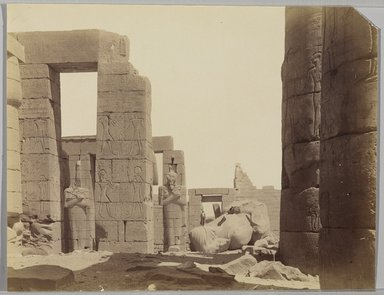 Antonio Beato (Italian and British, after 1832-1906). Ramesseum avec la Statue, n.d. Albumen silver photograph, 8 x 10 3/16 in. (20.3 x 25.9 cm). Brooklyn Museum, Gift of Virginia M. Zabriskie, 1991.310.3
