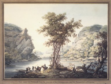William Strickland (British, 1787-1854). View down the Potomack, from the Junction of the Cohongoronta and the Shenandoah in Virginia, 1795-1796. Watercolor over graphite on cream, moderately thick, slightly to moderately textured laid paper mounted to paperboard, Overall: 20 11/16 x 27 1/2 in. (52.5 x 69.9 cm). Brooklyn Museum, Dick S. Ramsay Fund, 1991.43