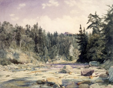 John William Hill (American, 1812-1879). Mountain Stream, 1863. Watercolor over black chalk on paper, 13 1/16 x 17 1/16 in. (33.2 x 43.3 cm). Brooklyn Museum, Gift of Mary Stewart Bierstadt, by exchange, 1991.44.1