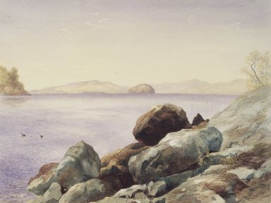 John Henry Hill (American, 1839-1922). Lake George, 1875. Watercolor over graphite on paper, 10 7/16 x 14in. (26.5 x 35.6cm). Brooklyn Museum, Gift of Mary Stewart Bierstadt, by exchange, 1991.44.2