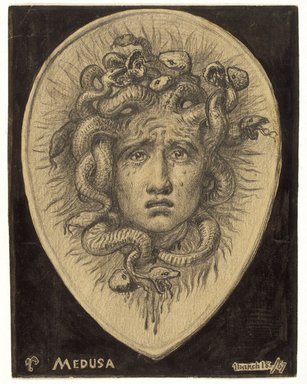 Elihu Vedder (American, 1836-1923). Medusa, March 18, 1867. Graphite and ink on paper, Sheet: 4 1/4 x 3 5/16 in. (10.8 x 8.4 cm). Brooklyn Museum, Gift of Mr. and Mrs. Lawrence Fleischman, 1991.57