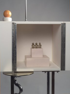 """Peter Shire (American, born 1947). """"Ode to a Soapstone Monkey"""" Cabinet-on-Stand, 1988. SURREL (TM) solid surfacing material, Colorcore (TM), metal, porcelain, fluorescent bulb, Overall: 69 7/8 x 31 1/2 x 30 in. (177.5 x 80 x 76.2 cm). Brooklyn Museum, Gift of Formica Corporation, 1991.6.1a-d. Creative Commons-BY"""