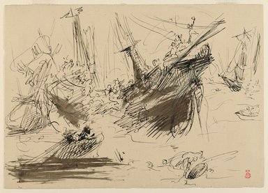 Jean-Baptiste Carpeaux (French, 1827-1875). Shipwreck, n.d. Iron gall brown ink (estimated) and black ink on laid paper, Sheet: 6 1/2 x 9 1/4 in. (16.5 x 23.5 cm). Brooklyn Museum, Helen Babbott Sanders Fund, 1991.66